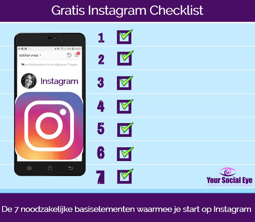 Gratis Instagram checklist 7 basiselementen